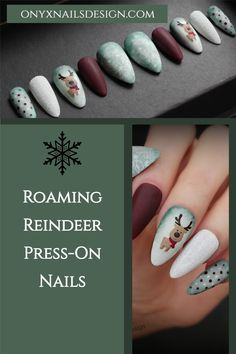 Green, white and Burgundy Christmas Nails with accents of Glitter sugar and Winter mittens pattern, and of course, that cute baby reindeer. These re-usable press-on nails or glue-on nails are crafted with the highest professional quality products available *Easy and quick to apply *Removes without damage to your natural nails *Comes in a storage box with everything you need for application *9 shapes and lengths to choose from. #pressonnails #glueonnails Instagram: @onyxnailsdesign