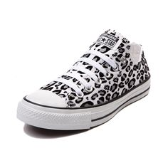Show your wild side in a new pair of Converse All Star Lo Leopard Sneakers! A classic Chucks silhouette with a snow leopard print canvas upper, and signature Converse rubber sole. Available only at Journeys and SHI!    Please note that this shoe runs a half size large.    Manufacturer style 146181F