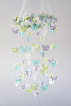 Butterfly Mobile- Lavender, Green, Blue & White