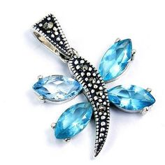 Blue Cubic Zirconia Marcasite & .925 Sterling by TheSilverPlaza