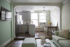 this kitchen is FREAKING ADORABLE and takes up such a small footprint but has alot of usable/working counter space!