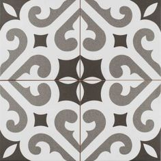Old-world European elegance radiates from our Merola Tile Thornbury Encaustic in. Ceramic Floor and Wall Tile, imported from Spain. Set on a white base glaze, this encaustic-inspired House Tiles, Wall Tiles, Stone Tiles, Tile Patterns, Grey And White, Flooring, Ceramics, Things To Sell, Floral Designs
