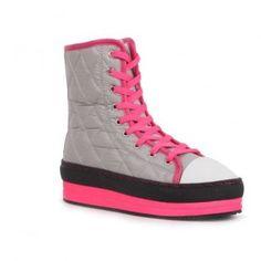 271 Women Lace-Up Mid-Top Platform Sneaker Mid-Calf Booties - Light Grey