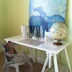 girl's rooms - bright yellow walls white sawhorse desk blue horse canvas art Kartell Ghost Chair  Bright yellow walls paint color with white