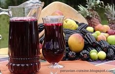 The delicious Chicha morada is a traditional beverage of the Peruvian Coast. It is made from a curious type of cereal calle purple corn, which is exactly the same as the regular corn, but in a very dark purple color. It is a very refreshing drink, and mixed with a little ice, it's perfect for summer.    Es muy rico !!