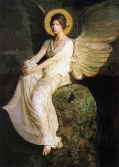 American Artist Abbott Handerson Thayer 1849-1921, Winged Figure Seated Upon a Rock
