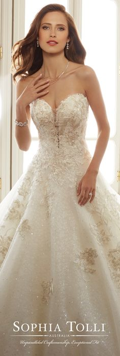 Sophia Tolli Spring 2017 Wedding Gown Collection - Style No. Y11731 Rainier - sequin lace and tulle ball gown wedding dress
