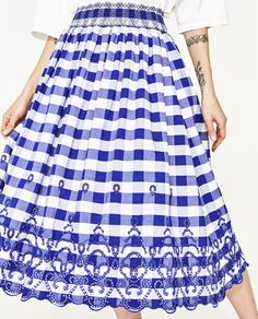Image 2 of GINGHAM CHECK MIDI SKIRT from Zara