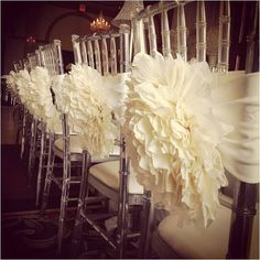 These chair covers are stunning! Instead of using elasticated chair covers these delicate tie up designs are elegant and classy.