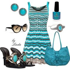 Lagoon - Turquoise & Black by lindakol on Polyvore