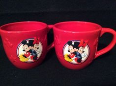 Disney Mickey Minnie Mouse Red Ceramic Coffee Cups Soup Mugs 2 Hallmark 16 Oz