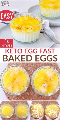 These low carb Buttery Asiago Baked Eggs make a tasty meal. So easy to make with only carbs per serving. Enjoy them for breakfast, lunch or dinner! Sugar Free Recipes, Low Carb Recipes, Cooking Recipes, Baked Eggs, Oven Baked, Low Carb Breakfast, Breakfast Recipes, Breakfast Dishes, Keto Dessert Easy