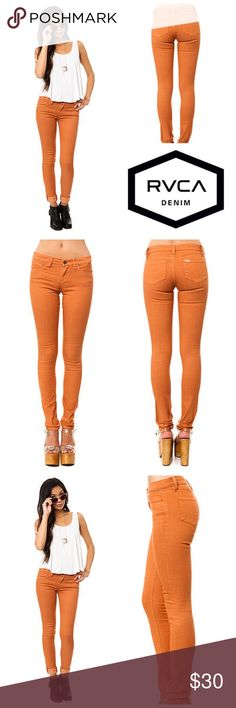 🆕RVCA The Falcor Jean in Amber It's time to rock 'n' roll in skin-tight jeans! Lulus has traveled back in time to the 1980's to bring you the RVCA Falcor  Skinny Jeans and we know you'll feel like a pop star! These tapered leg jeans are the most comfortable and flattering skinny jeans you will wear with a stretch denim giving you the most long and lean look. Soft whiskering in front over a five pocket design. Zip fly has top button closure. Unlined.Cotton, 25% Polyester, 2% Elastane…