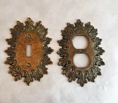 $22 vintage ornate metal switch plate covers brass decorative light switch covers ornate plug cover ornate single light switch cover 70s decor by GlyndasVintageshop on Etsy
