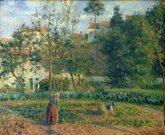 """Kitchen garden at Hermitage, Pontoise (Jardin potager à l'Hermitage, Pontoise)"" (1879) By Camille Pissarro (French, 1830-1903) oil on canvas; 55 x 65 cm; 21.7 × 25.6 in."