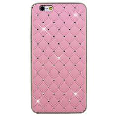 Coque Chrome iPhone 6 Diamants Incrustés - Rose