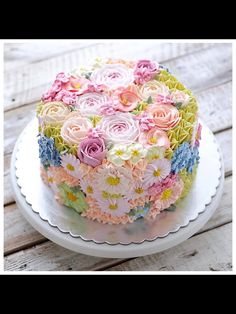 Kid Birthday Cake Idea Collection - Cake Decorating Without Fear - Life ideas Gorgeous Cakes, Pretty Cakes, Cute Cakes, Amazing Cakes, Take The Cake, Love Cake, Rodjendanske Torte, Spring Cake, Floral Cake