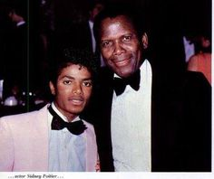 31 years ago in MJ HIStory July 17, 1982. Michael attends a Gala in honor of Quincy Jones. Photo w/ Sidney Poitier