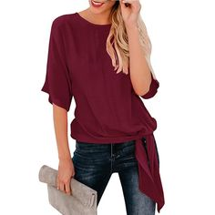 ac05f480b33c93 YOcheerful Womens Casual Half Sleeve TShirt Loose Solid Tee Top Lady Blouse  WineS ** Read