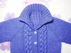 This purple baby sweater pattern is a very simple design for knitters and can make babies comfortably warm in cold weather.