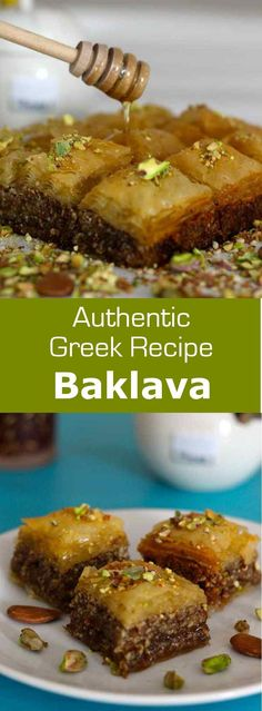 Baklava is a traditional pastry made with filo dough filled with dried fruits, covered with a sweet syrup flavored with rose or orange blossom water. #greek #vegetarian #dessert