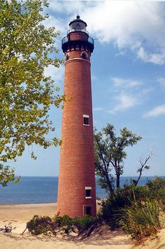 my most favorite lighthouse! Little Sable Point Lighthouse on Lake Michigan (Mears, MI) by margo Shared by Motorcycle Fairings - Motocc Michigan Vacations, Michigan Travel, Lake Michigan, Saint Mathieu, Lighthouse Pictures, Am Meer, Lake Superior, Great Lakes, Beautiful Places