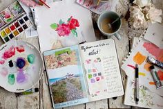 Ideas and inspiration for keeping a scrapbook, travel journal, or art journaling