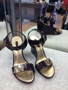 Louis Vuitton Patent Leather Gold/Burgundy Wedges Size 37.5 #LouisVuitton #PlatformsWedges