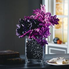 Halloween 1-2-3: Purple and Black Halloween Floral ArrangementPurple and Black Halloween Floral Arrangement
