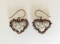 Rustic Pearl Heart Earrings