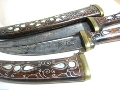 Pair Vintage Middle Eastern Dagger Knife in Decorative Wood Scabbard Pearl Inlay Collectible Knives, Dagger Knife, Pairs, Wood, Middle, Accessories, Vintage, Ebay, Decor