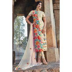 Beige Cotton Designer #Churidar Kameez With Dupatta- $43.96
