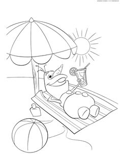 Olaf in Summer Coloring Pages | Free coloring pages for kids!<<< pshh and for me!