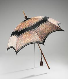 This parasol is of the highest quality, produced by Tiffany & Co. The label is of great interest, showing Tiffany & Co.'s Union Square address. Date: 1900–1905 Culture: American Medium: silk, wood, metal, synthetic. http://www.metmuseum.org/Collections/search-the-collections/80095223?rpp=20&pg=1&ao=on&ft=Tiffany&pos=8