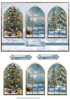 Diy Crafts - Christmas trees and presents windows card on Craftsuprint designed by Angela Wake - Christmas trees and presents windows card with window Chrismas Cards, Christmas Card Images, Christmas Graphics, Christmas Clipart, Christmas Printables, Christmas Pictures, Xmas Cards, Christmas Sheets, 3d Christmas