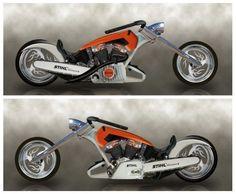 Custom design by Parrish Agency, via Behance Custom Choppers, Custom Motorcycles, Custom Bikes, Chainsaw Mill, Stihl Chainsaw, Side Car, Bicycle Brands, Bike Pedals, Balance Bike