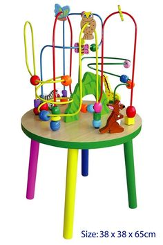 Mega Bead Maze Table Little children can have hours of fun with the Wire Bead Maze Table. Children can share the fun of zooming wooden beads through a challenging maze. Removable legs, so it can be placed on the floor for babies. Ideal for ages 1 and up Constructed from wood and wire Encourages imaginative play and cooperative play No removable parts Dimensions: 65cm H x 38cm x 38cm
