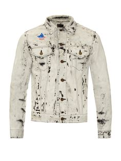 Acid-wash studded denim jacket | Saint Laurent | MATCHESFASHION.COM