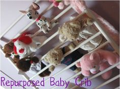 Baby Crib Repurposed for stuffed animal holder