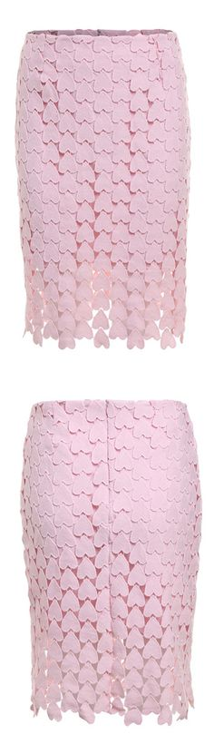 Heart Shaped Lace Pencil Pink Skirt-New Arrivals - Elegant, Indie and Unique Summer Fashion. Only $22.99  Check this more at Shein.com.