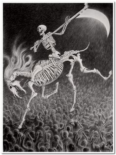 Available for sale from Bert Green Fine Art, Laurie Lipton, The Horseman Charcoal & Graphite on Paper, 39 × 29 in Don't Fear The Reaper, Grim Reaper, Memento Mori, Behold A Pale Horse, Horsemen Of The Apocalypse, Apocalypse Art, Art Premier, Religious Paintings, Danse Macabre