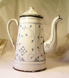 Antique Hand Painted Enamel Coffee Pot S7 by precambrianman, $165.00