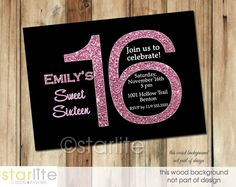Black with Pink Glitter Sweet 16 Sixteen Birthday Invitation Design CHOICE OF DIGITAL FILE (you print option) OR PRINTED, $20