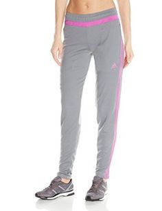 adidas Performance Women's Tiro Training Pant, X-Small, Vista Grey S15/Flash Pink S15/Vista Grey S15