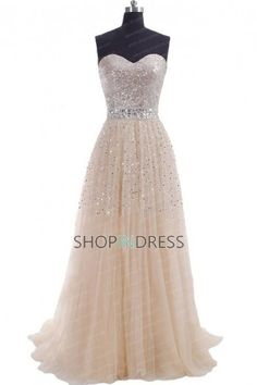 Stunning A-line Floor-length Champagne Prom Dress