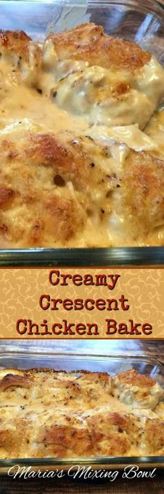 Creamy Crescent Chicken Bake- An easy and delicious weeknight meal the whole family will love! Biscuits can definitely be a replacement. Double the cream of chicken Turkey Recipes, Chicken Recipes, Chicken Ideas, Recipe Chicken, Crescent Chicken, Crescent Roll Recipes, Crescent Rolls, Crescent Dough, Timmy Time