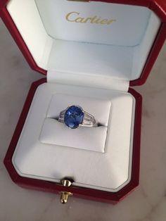Estate Vintage Antique CARTIER 4.30ct Sapphire Diamond Baguette Platinum Ring #Cartier