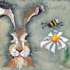 Lièvre & Bee  monté giclée Print par DawnsGallery sur Etsy