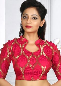 Latest Blouse Designs 2020 : Readymade Blouse for Saree and Lehenga - Reddish Pink Art Silk Blouse with Zari - Choli Designs, Lehenga Designs, Choli Blouse Design, Pattu Saree Blouse Designs, Brocade Blouse Designs, Blouse Designs High Neck, Fancy Blouse Designs, Designs For Dresses, Bridal Blouse Designs