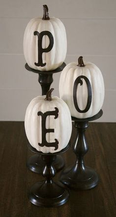 A simple, yet effective way to decorate candles for our Halloween: Beware the Birds! Black & White Theme Poe & Hitchcock Party Decorations & Ideas